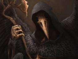 Raven Lord, фэнтези, арт, ворон, скелет, капюшон