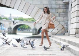 сумка, голубь, птица, улыбка, женщина