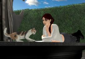 фон, кот, взгляд, девушка