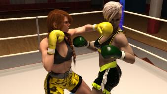 девушки, взгляд, фон, ринг, бокс