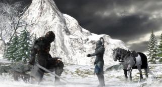 горы, лошадь, рыцари