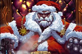 Зима, Рисунок, Рождество, Фон, Новый год, Санта