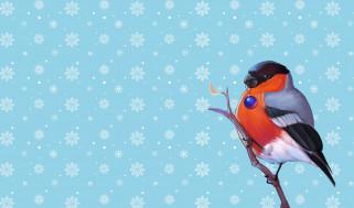 Минимализм, Птица, Снег, Игрушка, Рождество