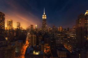 город, дома, Нью Йорк, вечер, ночь, огни