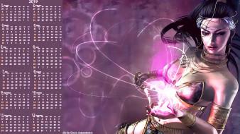 календари, фэнтези, украшения, девушка, магия