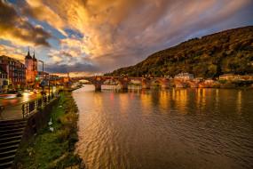 города, гейдельберг , германия, kristian, karaneshev, гейдельберг, heidelberg, холм, освещение, вечер, здания, улица, река, город, мост