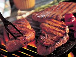 гриль, барбекю, мясо