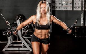 спорт, фитнес, фон, взгляд, девушка