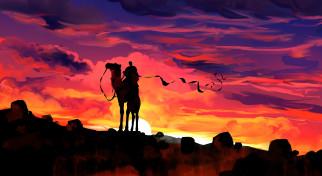 векторная графика, животные , animals, закат, верблюд