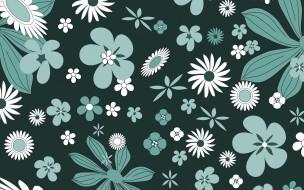цветы, зеленый, фон