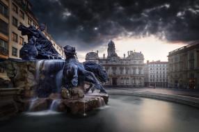 Франция, площадь, фонтан, Лион