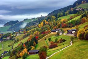 дома, горы, осень, туман