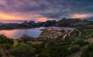 вечер, панорама, озеро, горы, город