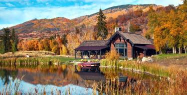 горы, дом, река