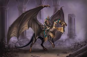 Рыцарь, Art, Fantasy, Чудовище, Крылья, Дракон