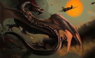 Самолеты, Бой, Битва, Монстры, Драконы, Арт, Dragon
