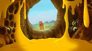 дупло, потоки, Disney, dark, мед, пчелы, Пух, соты, светлый, темный, черный, желтый, трава, небо, хлопает