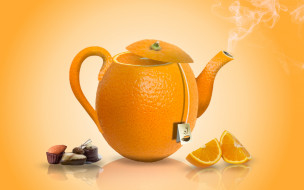апельсиновый, конфеты, чай