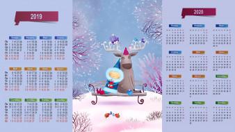 снег, скамейка, зима, девочка, олень