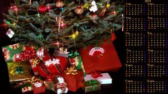 коробка, подарок, елка, игрушка