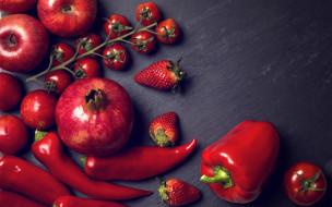 помидоры, перец, гранат, клубника, яблоки