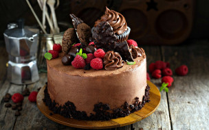 малина, печенье, торт