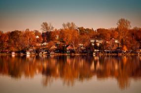 дома, отражение, река, осень