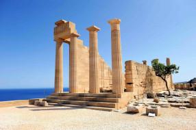 развалины, колонны, Акрополис, Линдос, Родос
