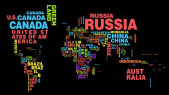 карта, мир, страны, названия