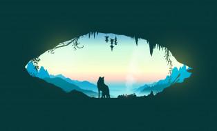 костер, пещера, собака, горы