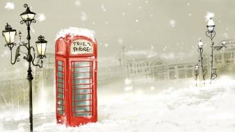 фонари, телефонная будка, снег, улица