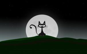 луна, кот, ночь