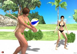 мяч, Волейбол, пляж, фон, взгляд, девушки