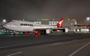 боинг, австралия, взлетно-посадочная полоса, qantas qf 74, ночь, аэропорт, пассажирский самолет