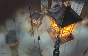 Лампы, Цепи, Japan, Фонари, Япония, Дым, Рисунок