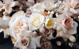 цветы, разные вместе, тюльпаны, розы