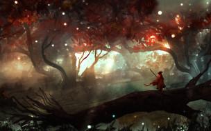 Человек, Лес, Пейзаж, Арт, Фантастика, Landscapes, Digital Art, TacoSauceNinja, by TacoSauceNinja