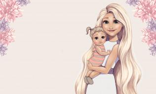 Princesses, настроение, принцесса, Disney, арт, малыш, цветы