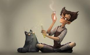 Julien Kaspar, учёный, парень, арт, кот