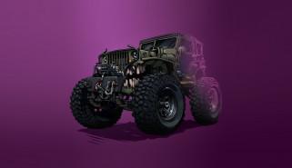 Car, Машина, Фон, Jeep, Vehicles, Оскал, Транспорт, Illustration, Art, Creatures, Transport, Зубы