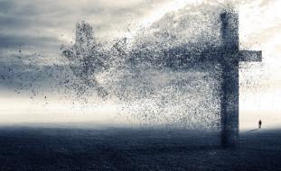 человек, птица, пепел, крест