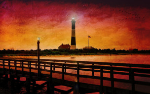 дома, река, мост, маяк