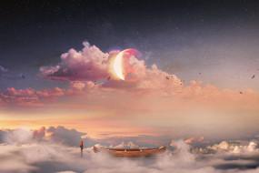 разное, компьютерный дизайн, птицы, лодка, Человек, луна, звезды, облака, небо