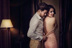 комната, девушка, спина, платье, пара, мужчина, влюбленные