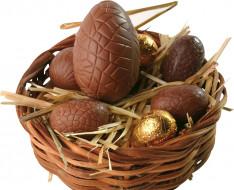 гнездо, корзинка, конфеты, шоколад, яйца