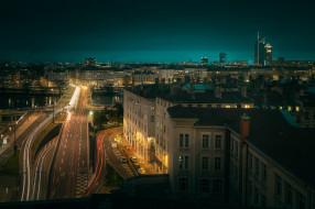 Франция, вечер, огни, Лион