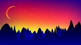 лес, ночь, луна