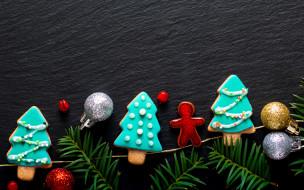ветки ели, Merry, gingerbread, пряники, decoration, New Year, wood, Christmas, Рождество, печенье, Новый Год, украшения