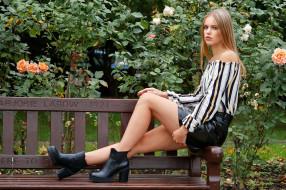 девушка, модель, ножки, скамья, Laura