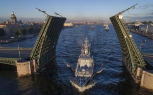 корабль, мост, нева, петербург